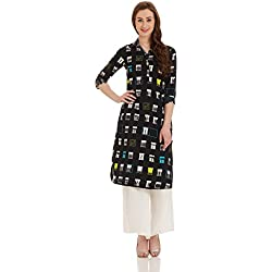 W for Woman Straight Kurta (17FE16742-59059_8_BLACK)