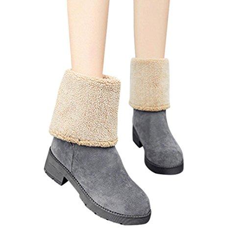 Bottes et boots,Transer® Vêtements femme garder chaud à double Usage bottes couleur unie fourrure hiver raquettes Gris