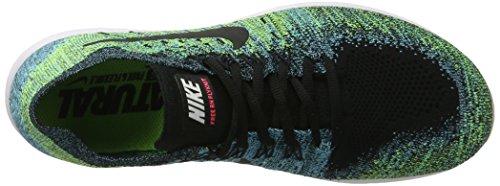Nike Free Run Flyknit 2017, Scarpe Running Uomo Nero (Black/black-volt-chlorine Blue-racer Pin)