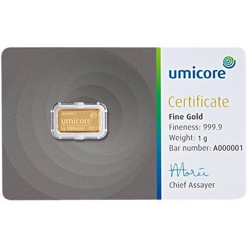 UMICORE 1g Gramm Goldbarren 999.9