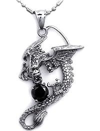 JewelryWe Bijoux Pendentif Collier Homme et Femme Dragon Oxyde de Zirconium  Halloween Noël Acier Inoxydable Fantaisie 9c7f52814c0d
