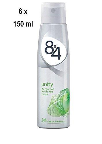 """8x4 Deospray Men/Women\""""Unity\"""" - 6er Pack (6 x 150 ml)"""