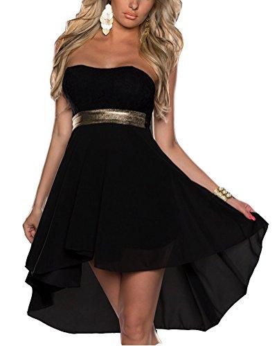 SaiDeng Mujeres Lentejuelas Sin Tirantes Vestido De Coctel Encanto Vestido Irregular Fiesta Vestidos XXL Negro