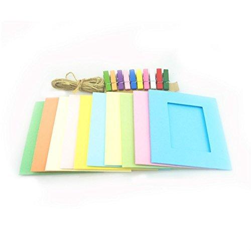 ve Mini Papier Foto-Rahmen Bilderrahmen mit Kluppen und Schnur Instax Mini Film (Mehrfarbig) (Mini-foto-rahmen)