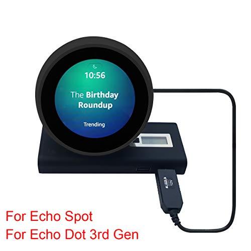 MERES 1M USB Ladekabel Verbindungskabel für Echo Spot/Echo Dot 3 Gen - USB 5V bis DC 12V Power Line Machen den Spot Portable (Schwarz für Echo Spot)