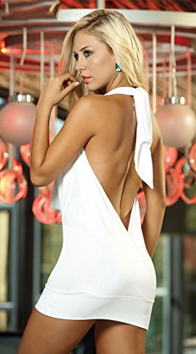 CZIXUN Chemise de Nuit Sexy Erotique Dos Nu Femme Babydoll Robe Weiß