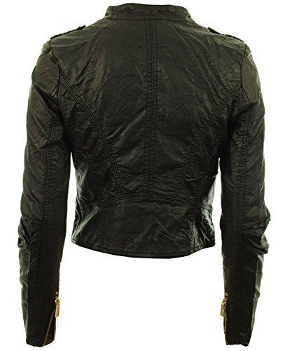 Diana Frauen Faux Leder Biker Gold Button Reißverschluss Zuschneiden Länge Damen Jacke - 4