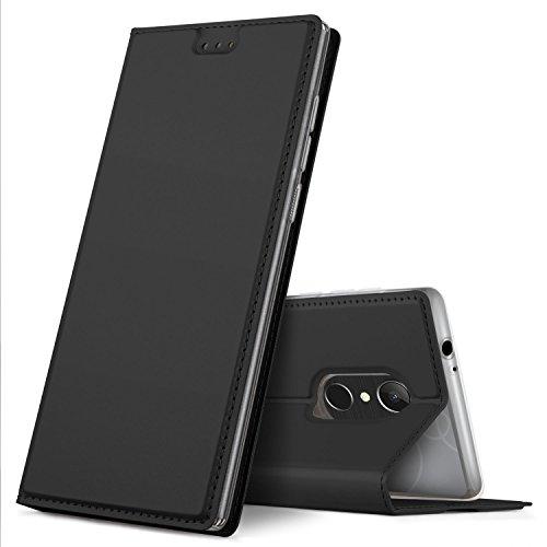 GeeMai Alcatel 5 Hülle, Premium Flip Case Tasche Cover Hüllen mit Magnetverschluss [Standfunktion] Schutzhülle Handyhülle für Alcatel 5 Smartphone, Schwarz