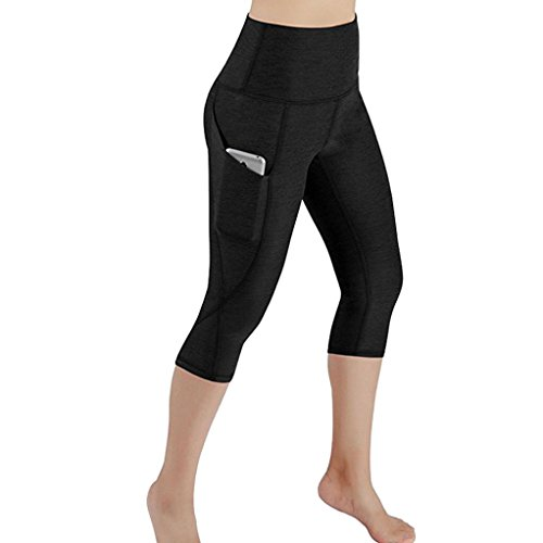 Leggings Damen, ABsoar Damen Skinny 3/4 Leggings Patchwork Mesh Yoga Leggings Fitness Sport Capri Sporthosen (L, Schwarz C)
