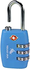 Texas USA - TSA Lock - Florescent Blue Lock - Mandatory for US Customs ( ONLY ORIGINAL BRANDED LOCK ONLINE ! )