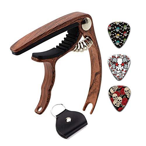 Kapodaster Ammoi Holz Capodaster Gitarre Kapo Capo mit 3st Gitarren Plektrum für 6-Saiten Akustik Westerngitarre E-Gitarre Akustikgitarre Banjo Ukulele