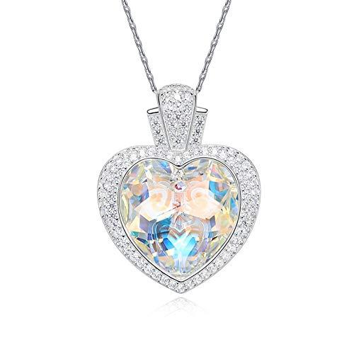 Amody S925 Sterling Silber Liebe Meer Halskette für Frauen Herz Kristall von Swarovski Anhänger Halsketten