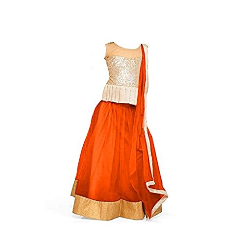S R Fashion New Arrival Girl's Latest Orange Color Net Lehenga Choli...
