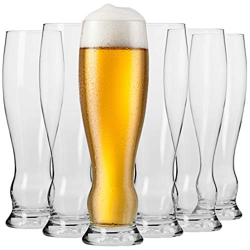 Krosno Weizengläser Biergläser 0,5 Liter | Set von 6 | 500 ML | Splendour Kollektion | Perfekt für Zuhause, Restaurants und Partys | Spülmaschinenfest und Mikrowellengeeihnet
