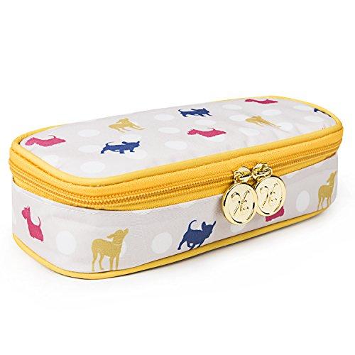 TaylorHe Bunte Mäppchen Multifunktions Federmappe mit Reißverschluss, Fächern und Taschen Tupfen Hunde, gelb