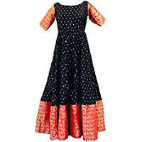Mohtarma Women's Full Stitched Silk Sungudi South Indian Style Gown