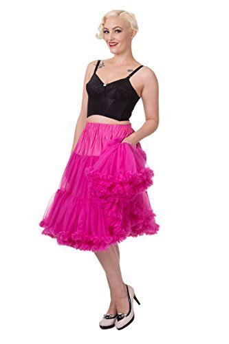 (Banned Super Weich 50s Vintage Rockabilly Petticoat 66cm - Hot Pink, X-Small / Small)