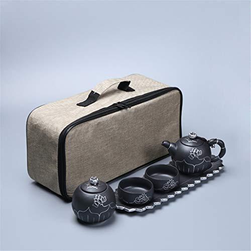DONG Chinas High-End-Handgemalte Steinzeug Gold Lotus Tee-Set Outdoor-Reisen einen Topf Zwei Tassen mit Tee-Tablett,Silver