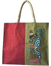 Style And Culture Jute Bag (Red-Green)/Shopping Bag /Tote Bag /Handbag