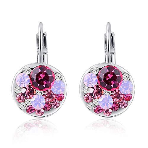 Fajewellery Damen Blau/Rose rot österreich Kristall Ohrclip Ohrring Geschenk für Frauen