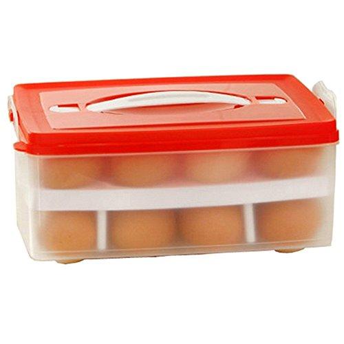 Natural Home Multifunktionsbox Transportbox Mit Griff und Deckel für 24 Eier Kunststoff (Red)