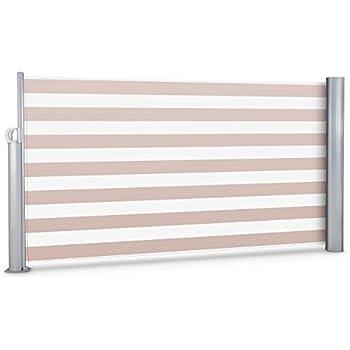 Blumfeldt Bari 316 • Seitenmarkise • Standmarkise • Seitenrollo • Sichtschutz • Sonnenschutz • Polyester 300 x 160 cm • ausziehbar • wasserabweisend • UV-beständig • selbstspannend • Rückholfeder • Aluminiumgehäuse • pulverbeschichtet • creme-weiß