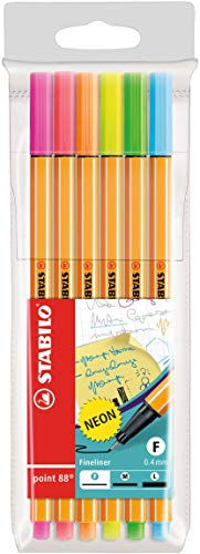 Stabilo point 88 neon penna fineliner astuccio da 6