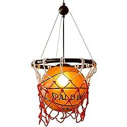 MILUCE Lámpara de techo, iluminación de baloncesto de vidrio personalizado iluminación creativa para niños Dormitorio Dormitorio luces E27 fuente de luz