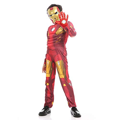 an Kostüm Maske für Kinder Jungen Cosplay Deluxe Overall Party Halloween Siamese Strumpfhosen Maskerade Requisiten,Red-S(95-110 cm) ()