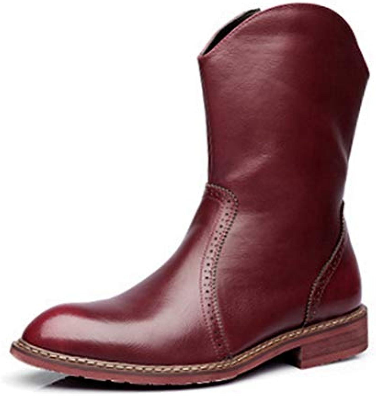 Mens Chelsae stivali Mid-Calf Motorcycle stivali stivali stivali Pointed Toe Leather Riding Equestrian stivali Non-Slip Wear-Resistant...   Queensland    Uomo/Donne Scarpa  827ccd