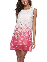 YIFAN DREAM Damen Chiffonkleid Ärmelloses Beiläufiges Strandkleid Sommer  Tank Kleid Oberteil Tunikakleid mit Blumen Muster Minik ccf975c6c2
