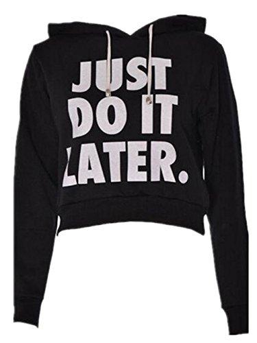 Haililais Mode Femmes Détendu T-shirt Court Lettres University Couleur Unie Hooded Sweatshirts à Manches Longues Pull Décontracté Vêtement Black