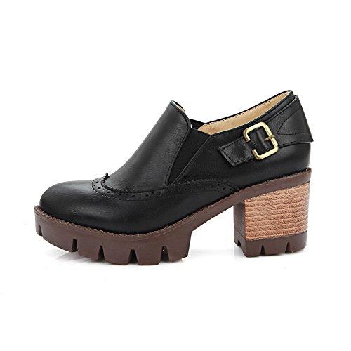 VogueZone009 Femme Matière Souple Rond Tire Couleur Unie Chaussures Légeres Noir