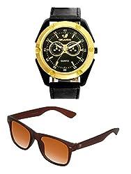Orlando Casual Chronograph Look Analogue Black Dial Black Leather Belt Mens Watch & BIG Tree Cinnamon Brown Color UV Protected Wayfarer Sunglasses Goggles Combo Set
