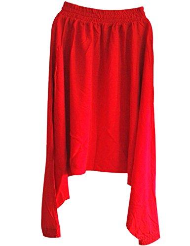 Youlee Damen Sommer Frühling Elastische Taille Drop Crotch Hose Rot