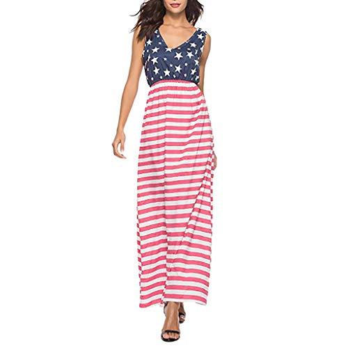 Yanhoo Damen Gestreift Lange Boho Kleid Lady Beach Sommer Sundrss Maxikleid Strand häkeln Vintage Floral Bodycon Sleeveless beiläufiges Abend Partei Abschlussball Schwingen (M, (Mutterschaft M&m Kostüm)