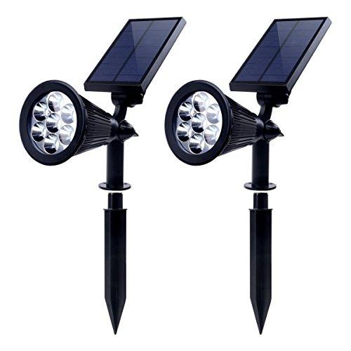 2 Stück Solar Strahler, LEDNut 7 LED 320 Lumen 7 Farben Solarbetriebene Scheinwerfer 2-in-1 Verstellbare Gartenleuchten Solarleuchte Landscape Beleuchtung Outdoor Spotlight - Das 4. Gen Gen Vier