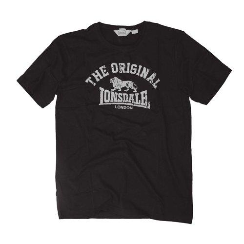 Lonsdale Unisex Langarmshirt T-Shirt Regular Fit ORIGINAL schwarz (schwarz) Medium (Baumwolle-logo-leibchen)