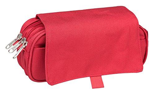 Idena 21415 Faulenzer-Etui mit Klappe und 3 Fächern, 23 x 12 x 8 cm rot