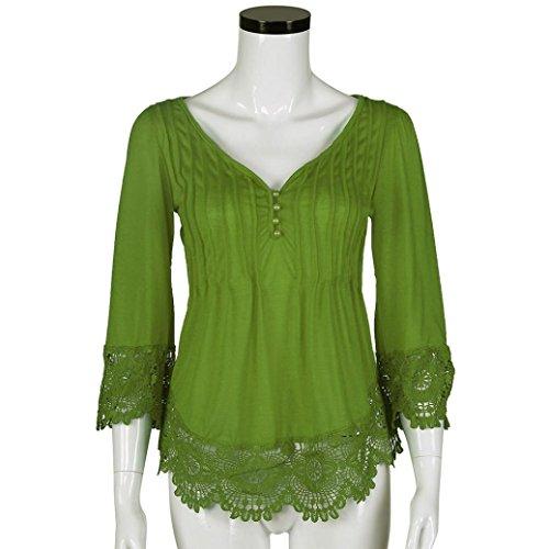 Femme Plus Taille sSwing Tunique TOPS Jaminy Dentelle Crochet col V T-shirt Blouse TOPS Green