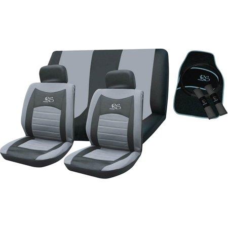 Grigio RS Coprisedili Auto, volante e sedile cintura Cover Set