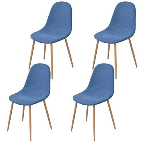 Festnight- 4er Set Essstuhl mit Stoffpolsterung und Holzrahmen | Esszimmerstühle mit Stoffbezug | Küchenstuhl...