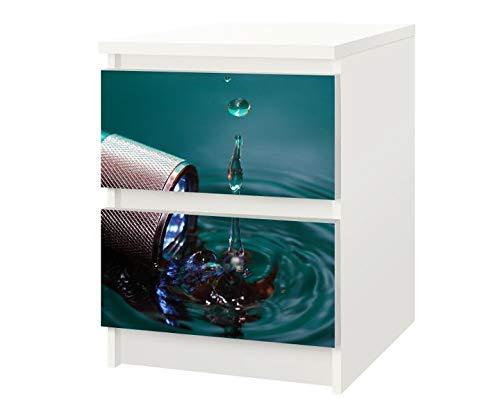Set Möbelaufkleber für Ikea Kommode MALM 2 Fächer/Schubladen Taschenlampe Wasser Kat19 Wassertropfen Aufkleber Möbelfolie sticker (Ohne Möbel) Folie 25F645