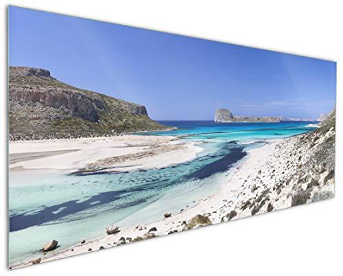Wallario Küchenrückwand aus Glas, in Premium Qualität, Motiv: Einsame Bucht mit weißem Sand und klarem Wasser   Spritzschutz   abwischbar   pflegeleicht