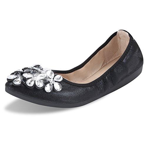 Qimaoo Damen Klassische Ballerina Geschlossene Glitzer Ballerinas Mokassin Slip-on Sommer Flache Schuhe mit Strass, Schwarz Silber und Gold (Stiefel Flache Schwarze Hohe)