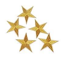 Confezione da 10 toppe termo-adesive ricamate, motivo: stella dorata, per vestiti, giacche, borse, cappelli, zaini, astucci. Per progetti creativi, collage, decorazioni e lavori di cucito, si possono usare per decorare album e scatole, da app...