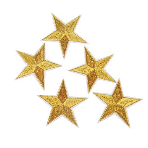 10 parches termoadhesivos estrella dorada bordada