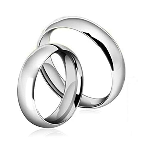 Aeici Ringe Damen mit Gravur 4/6Mm Silber Polierter Ring Komfort Fit Damen Gr.60 (19.1) & Herren Gr.60 (19.1)