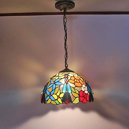 GDLight 12-Zoll-Pendelleuchte Tiffany Style Floral Glasmalerei Decke Hängeleuchte American Pastoral Island Licht für Schlafzimmer Küche, E27 -