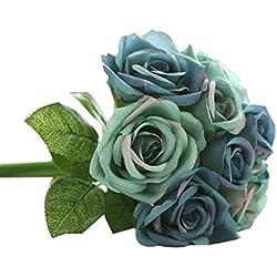 Strung Unechte Blumen 9 Köpfe Künstliche Seide Gefälschte Blumen Blatt Rose Hochzeit Floral Decor Bouquet Deko Braut Hochzeitsblumenstrauß Zuhause Garten(Dunkel Blau,27cm)